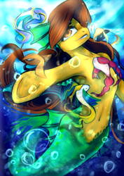 Size: 2480x3507   Tagged: safe, artist:kiwwsplash, oc, oc only, seapony (g4), solo, swimming, underhoof, underwater