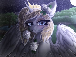 Size: 1620x1215 | Tagged: safe, alternate version, artist:pearl123_art, oc, oc only, oc:pearl, alicorn, pony, alicorn oc, eyelashes, female, flower, flower in hair, flower in mouth, full moon, horn, mare, moon, mouth hold, night, solo, spread wings, stars, wings