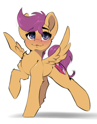 Size: 1866x2388 | Tagged: safe, artist:skitsniga, scootaloo, pegasus, pony, blushing, chest fluff, cute, cutealoo, female, filly, high res, raised hoof, raised leg, simple background, smiling, solo, spread wings, white background, wings