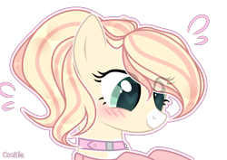 Size: 1920x1361 | Tagged: safe, artist:lazuli, oc, oc only, earth pony, pony, blushing, bust, collar, commission, earth pony oc, heart eyes, simple background, smiling, solo, transparent background, wingding eyes, ych result