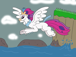 Size: 3264x2448 | Tagged: safe, artist:supahdonarudo, queen novo, classical hippogriff, hippogriff, my little pony: the movie, cliff, cloud, flying, griffon day, ocean, rock, shore, solo