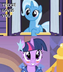 Size: 1264x1440 | Tagged: safe, edit, edited screencap, screencap, trixie, twilight sparkle, the best night ever, to where and back again, blushing, female, lesbian, shipping, shipping domino, twixie