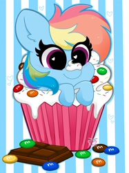 Size: 1535x2048 | Tagged: safe, artist:kittyrosie, rainbow dash, pony, chocolate, cupcake, cute, dashabetes, female, food, frosting, heart, heart eyes, m&m's, mare, ponies in food, solo, sprinkles, striped background, wingding eyes
