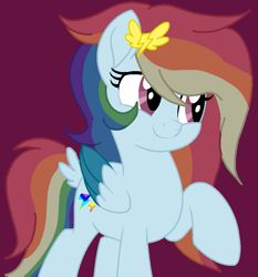 Size: 853x915 | Tagged: safe, artist:circuspaparazzi5678, oc, oc only, oc:lightning blitz, pegasus, pony, base used, hairclip, movie accurate, multicolored hair, parent:rainbow dash, parent:soarin', rainbow hair, solo
