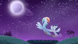 Size: 1280x720 | Tagged: safe, artist:nadiakaizane, rainbow dash, soarin', pony, female, flying, male, night, shipping, soarindash, straight