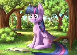 Size: 1280x915 | Tagged: safe, artist:kaylerustone, twilight sparkle, alicorn, pony, book, bush, cute, female, happy, mare, reading, sitting, smiling, solo, tree, twiabetes, twilight sparkle (alicorn)