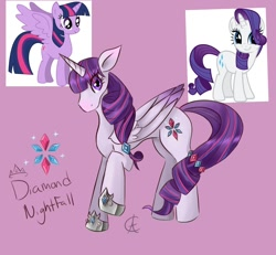 Size: 1120x1034 | Tagged: safe, artist:cynfularts, rarity, twilight sparkle, alicorn, unicorn, fanart, fusion, mashup, pink background, simple background, twilight sparkle (alicorn)