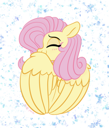 Size: 1977x2325 | Tagged: safe, artist:pink-pone, fluttershy, pegasus, pony, abstract background, blushing, cute, eyes closed, female, shyabetes, solo