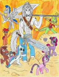 Size: 1024x1326 | Tagged: safe, artist:martialarts2003, oc, oc:sagittarius, centaur, earth pony, hybrid, kirin, pegasus, unicorn, legends of equestria, color pencil, fantasy class, hero, lineart, marker drawing, ponyoc, sword, traditional art, warrior, weapon