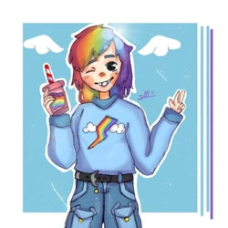 Size: 720x720 | Tagged: safe, alternate version, artist:alexx_lemon_55, rainbow dash, human, clothes, drink, female, humanized, one eye closed, pants, signature, smiling, solo, wink