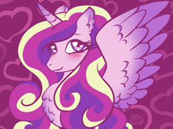 Size: 1500x1124 | Tagged: safe, artist:purfectprincessgirl, princess cadance, alicorn, pony, a canterlot wedding, blushing, cute, cutedance, female, love is in bloom, mare, solo