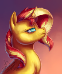 Size: 3241x3838 | Tagged: safe, artist:yeahbutthendragons, sunset shimmer, pony, unicorn, bust, female, mare, portrait, profile, signature, simple background, solo