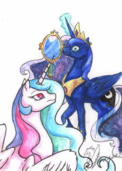 Size: 3488x4911   Tagged: safe, artist:yeahbutthendragons, princess celestia, princess luna, alicorn, pony, accessory theft, caught, crown, duo, female, glowing horn, horn, jewelry, magic, mare, mirror, peytral, regalia, royal sisters, signature, simple background, sisters, telekinesis, traditional art, white background