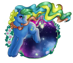 Size: 778x675 | Tagged: safe, artist:silvermoonbreeze, night light (g1), bow, flower, flower in hair, g1, g1 to g2, g2, generation leap, solo, tail bow, unshorn fetlocks