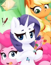 Size: 1011x1280 | Tagged: safe, artist:jessesmash32, applejack, pinkie pie, rarity, earth pony, pony, unicorn, butterfly knife, cowboy hat, cutie mark, digital art, female, hat, horn, knife, mare, tools, trio
