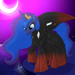 Size: 1280x1280 | Tagged: safe, artist:makarimorph, princess luna, alicorn, pony, crown, digital art, female, horn, jewelry, mare, moon, night, regalia, solo, warframe, wings