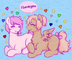 Size: 2000x1666 | Tagged: safe, artist:poofindi, oc, oc only, oc:kayla, oc:mary jane, earth pony, pegasus, pony, blushing, bow, duo, eating, eyes closed, female, food, heart, kayry, laying on stomach, lesbian, mare, oc x oc, pocky, ponytail, shipping, simple background, tail bow, text