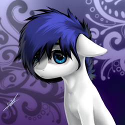 Size: 2500x2500 | Tagged: safe, artist:thatdreamerarts, oc, oc only, oc:ink glow, oc:isaac pony, earth pony, pony, background pony, blue eyes, blue mane, cute, eyebrows visible through hair, light, looking at you, male, shy, snow, solo, white skin