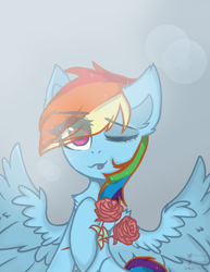 Size: 1700x2200 | Tagged: safe, artist:memengla, rainbow dash, pegasus, pony, ;p, flower, one eye closed, rose, solo, tongue out, wink