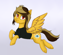 Size: 2029x1771 | Tagged: safe, artist:haruhi-il, pegasus, pony, alex gaskarth, all time low, butt fluff, clothes, commission, dyed mane, dyed tail, ear fluff, flying, gradient background, hoof fluff, looking at you, male, ponified, shirt, solo, spread wings, stallion, t-shirt, tail feathers, wings, ych result