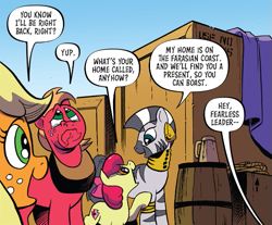 Size: 587x487 | Tagged: safe, artist:andypriceart, idw, apple bloom, applejack, big macintosh, zecora, earth pony, zebra, spoiler:comic, spoiler:comic89, barrel, crate, crying, female, filly, male, mare, offscreen character, rope, season 10, stallion, teary eyes