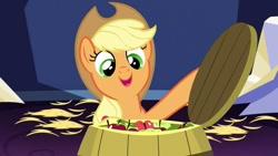 Size: 680x383 | Tagged: safe, screencap, applejack, earth pony, pony, castle sweet castle, apple, applejack's hat, barrel, cowboy hat, food, hat