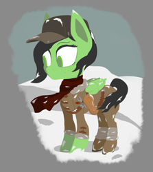 Size: 1554x1746 | Tagged: safe, artist:enragement filly, oc, oc:filly anon, pegasus, pony, cap, clothes, female, filly, frostpunk, hat, scarf, simple background, snow, solo