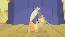 Size: 680x383 | Tagged: safe, screencap, applejack, earth pony, pony, boast busters, applejack's hat, cowboy hat, female, hat, lasso, mare, rope, stage