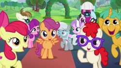 Size: 680x383 | Tagged: safe, screencap, apple bloom, diamond tiara, featherweight, lily longsocks, photo finish, scootaloo, silver spoon, snails, sweetie belle, twist, earth pony, pegasus, pony, the mane attraction, camera, carpet, colt, cutie mark, cutie mark crusaders, female, filly, male, red carpet