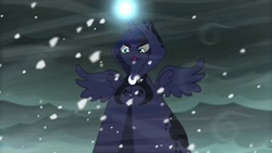Size: 680x383 | Tagged: safe, screencap, princess luna, alicorn, a hearth's warming tail, clothes, open mouth, robe, snow, storm, wings, winter