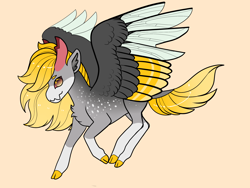 Size: 2800x2100 | Tagged: safe, artist:loryska, oc, changepony, hybrid, cloven hooves, colored wings, hybrid wings, interspecies offspring, multicolored wings, offspring, orange background, parent:derpy hooves, parent:pharynx, simple background, solo, transparent background, wings