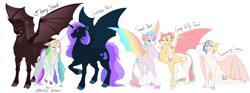 Size: 5000x1857 | Tagged: safe, artist:arexstar, oc, oc only, oc:candy taffy twist, oc:ebony shard, oc:lavender falls, oc:shimmering sweets, oc:sweet tart, oc:whistful wishes, alicorn, bat pony, bat pony alicorn, hybrid, pony, bat wings, cloven hooves, female, horn, horns, male, mare, simple background, stallion, white background, wings