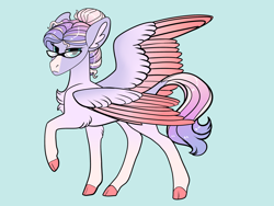 Size: 2800x2100 | Tagged: safe, artist:loryska, oc, pegasus, pony, female, glasses, mare, offspring, parent:princess cadance, parent:shining armor, parents:shiningcadance, simple background, two toned wings, wings