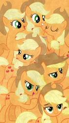 Size: 720x1280 | Tagged: safe, artist:mrkat7214, edit, editor:theedgyduck, applejack, earth pony, pony, applejack's hat, collage, cowboy hat, female, hat, jackletree, lock screen, lockscreen, mare, multeity, phone wallpaper, vector