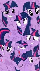 Size: 720x1280 | Tagged: safe, edit, editor:theedgyduck, twilight sparkle, alicorn, unicorn, collage, lock screen, lockscreen, multeity, one eye closed, phone wallpaper, sparkle sparkle sparkle, twilight sparkle (alicorn), unicorn twilight, vector, wink