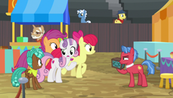 Size: 1920x1080 | Tagged: safe, screencap, apple bloom, biscuit, scootaloo, spur, sweetie belle, growing up is hard to do, cutie mark crusaders, older