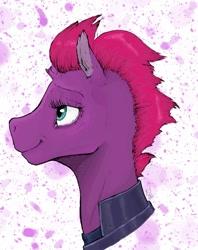 Size: 1024x1295 | Tagged: safe, artist:rachelmacready, fizzlepop berrytwist, tempest shadow, pony, unicorn, broken horn, female, horn, mixed media, smiling, solo