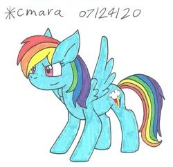 Size: 909x877 | Tagged: safe, artist:cmara, rainbow dash, pegasus, pony, female, mare, simple background, solo, traditional art, white background
