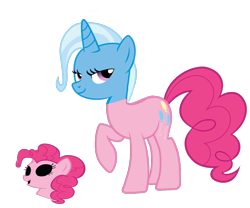 Size: 1566x1302 | Tagged: safe, edit, pinkie pie, trixie, earth pony, bodysuit, clothes, disguise, impersonating, mask, masking, pinkie pie suit, ponysuit, simple background, transparent background, trick