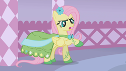 Size: 1280x720 | Tagged: safe, screencap, fluttershy, suited for success, clothes, dress, flower, flower in hair, gala dress, solo