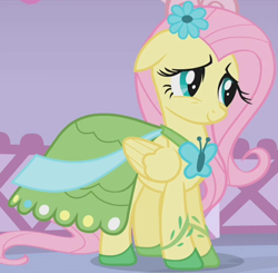 Size: 1150x1125 | Tagged: safe, screencap, fluttershy, suited for success, clothes, cropped, dress, flower, flower in hair, gala dress, outfit catalog, solo