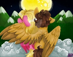 Size: 1280x1003 | Tagged: safe, artist:millefaller, pegasus, pony, cloud, dipper pines, gravity falls, hug, pacifica northwest, ponified, winghug