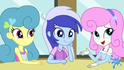 Size: 1850x1050 | Tagged: safe, artist:rjp.rammy, lemon hearts, minuette, twinkleshine, equestria girls, bra, bra strap, clothes, cute, equestria girls-ified, female, hairband, open mouth, shirt, smiling, sweater, table, tanktop, trio, underwear