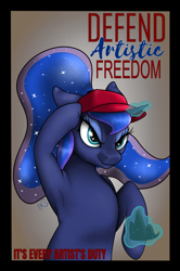 Size: 3000x4516 | Tagged: safe, artist:anonymous, princess luna, pony, art pack:marenheit 451, /mlp/, artistic freedom, cap, hat, magic, poster
