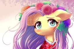 Size: 1280x854 | Tagged: safe, artist:symbianl, fluttershy, pegasus, blushing, chest fluff, clothes, cute, flower, flower in hair, hime cut, shyabetes, solo, weapons-grade cute