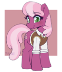 Size: 518x604 | Tagged: safe, artist:puetsua, cheerilee, earth pony, pony, cheeribetes, clothes, colored pupils, cute, ear fluff, equestria girls outfit, female, leg fluff, looking at you, mare, solo, sweater vest