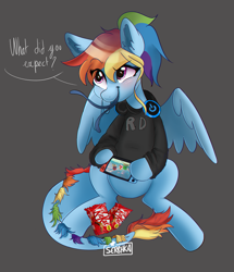 Size: 1682x1953 | Tagged: safe, artist:serbhka, rainbow dash, monster pony, original species, pony, tatzlpony, alternate hairstyle, blushing, candy, clothes, cute, dialogue, food, gray background, headphones, hoodie, nintendo switch, ponytail, simple background, skittles, solo, talking to viewer, tatzldash