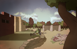 Size: 5500x3500 | Tagged: safe, artist:thehuskylord, oc, oc:filly anon, earth pony, pony, akm, building, clothes, cloud, detailed background, female, filly, forest, frown, gun, mountain, rhodesia, rifle, rubble, ruins, sandbag, solo, tree, uniform, weapon