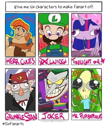 Size: 818x935   Tagged: safe, artist:77uglydrawingsblabla, twilight sparkle, alicorn, human, pony, six fanarts, crossover, dc comics, derp, female, fez, gravity falls, hat, hercules, luigi, male, mare, mr. poopybutthole, puking rainbows, rick and morty, stan pines, super mario bros., the joker, twilight sparkle (alicorn), vomiting