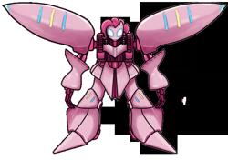 Size: 600x422   Tagged: artist needed, safe, pinkie pie, robot, avatar state, female, glowing eyes, gundam, mech, mobile suit gundam, qubeley, robot wings, simple background, solo, transparent background, zeta gundam